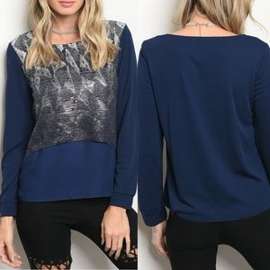 Navy Silver Long Sleeve Top {Christy & Co.}